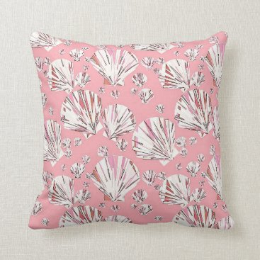 Beach Themed Coral, white and pink sea shells, pink background throw pillow