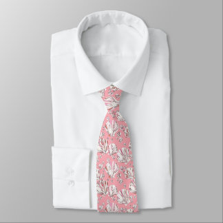 Coral, white and pink sea shells, pink background tie