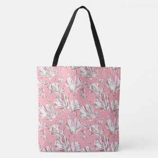 Coral, white and pink sea shells, pink background tote bag
