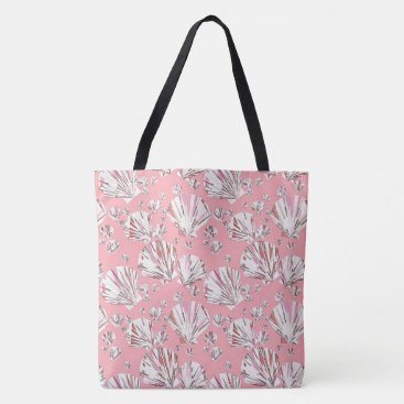 Beach Themed Coral, white and pink sea shells, pink background tote bag