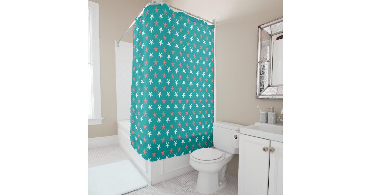 Coral White And Teal Starfish Pattern Shower Curtain Zazzle