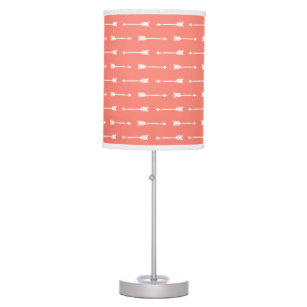 Coral U0026 White Arrows Pattern Table Lamp