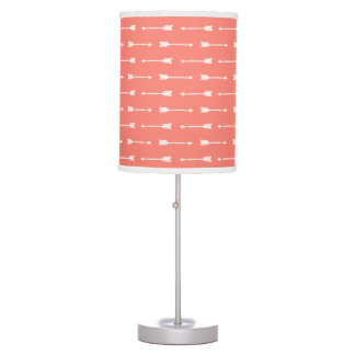 Coral & White Arrows Pattern Table Lamp