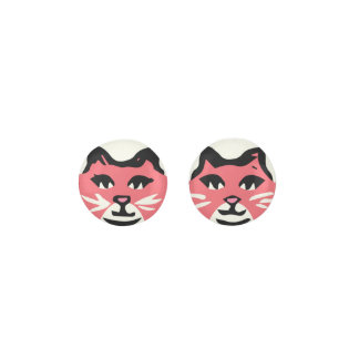 CORAL & WHITE CAT With White Whiskers Earrings