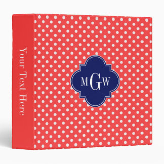 Coral White Chevron Navy Quatrefoil 3 Monogram Binder