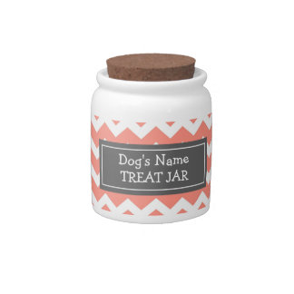 Coral White Chevron Pattern Dog Treat Jar Candy Dishes