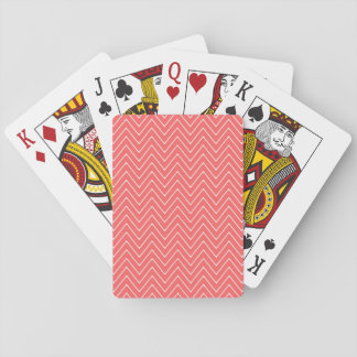 Coral White Chevron Pattern Playing Cards