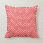 Coral White Chevron Pattern Throw Pillow