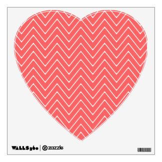 Coral White Chevron Pattern Wall Sticker