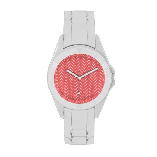 Coral White Chevron Pattern Wristwatches