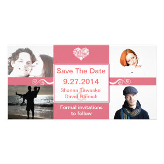 Coral & White Custom Photo Wedding Save The Date Card