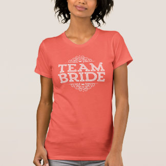 Coral & White Cute Team Bride Wedding Party Gift T-Shirt