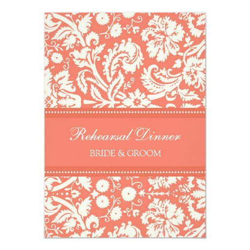 Coral White Damask Rehearsal Dinner Party Cards