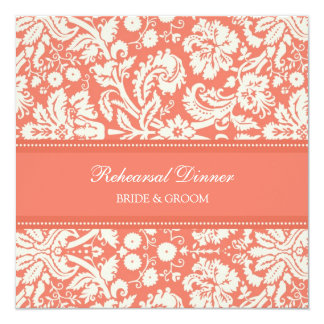 """Coral White Damask Rehearsal Dinner Party 5.25"""" Square Invitation Card"""