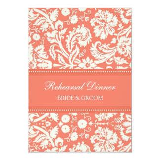 """Coral White Damask Rehearsal Dinner Party 5"""" X 7"""" Invitation Card"""