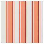 [ Thumbnail: Coral, White & Dark Red Colored Stripes Fabric ]