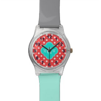 Coral White Dots Brt Aqua Quatrefoil 3 Monogram Wristwatch