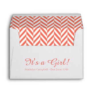 Coral White Due Date Baby Shower Envelopes