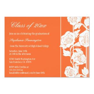 Coral white floral graduation party announcement