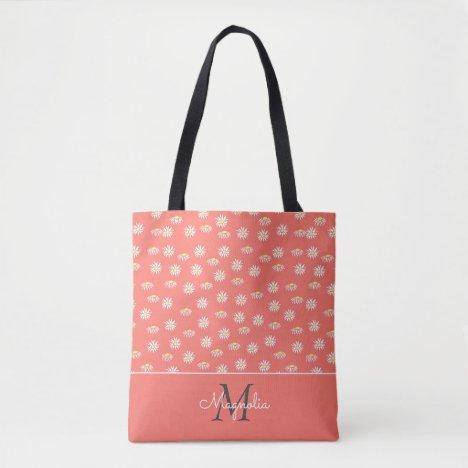 Coral White Floral Pattern Monogrammed Tote Bag