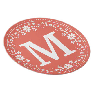 Coral White Floral Wreath Monogram Plate