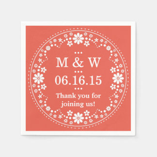 Coral White Floral Wreath Wedding Custom Paper Napkins
