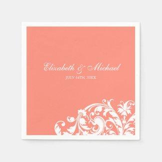 Coral White Flourish Swirl Personalized Wedding Paper Napkin