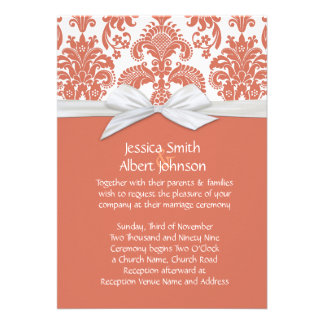 Coral&White French Country Damask Wedding Invite