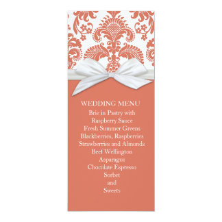 Coral&White French Country Damask Wedding Menu 4x9.25 Paper Invitation Card