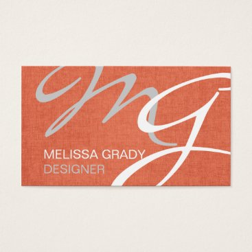 Professional Business Coral White Gray Monogram Modern Business Card