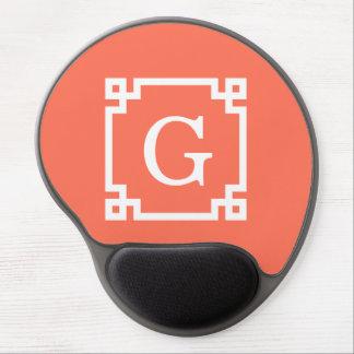 Coral White Greek Key Frame #2 Initial Monogram Gel Mouse Pad