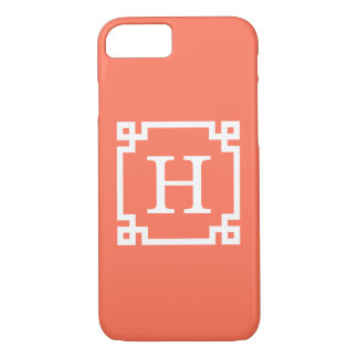 Coral White Greek Key Frame #2 Initial Monogram iPhone 8/7 Case