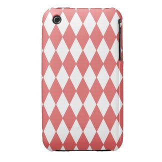 Coral White Harlequin Pattern, Black Monogram iPhone 3 Covers