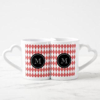 Coral White Harlequin Pattern, Black Monogram Coffee Mug Set