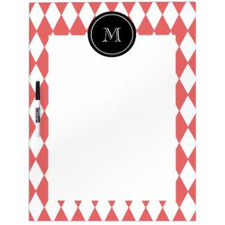 Coral White Harlequin Pattern Black Monogram Dry-Erase Whiteboards