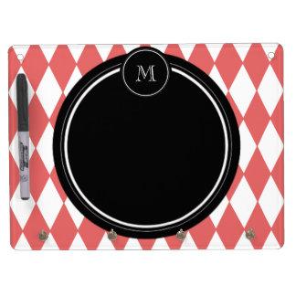 Coral White Harlequin Pattern Black Monogram Dry-Erase Boards