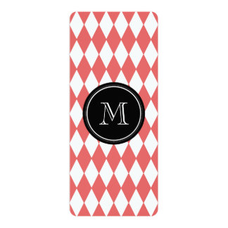 "Coral White Harlequin Pattern, Black Monogram 4"" X 9.25"" Invitation Card"
