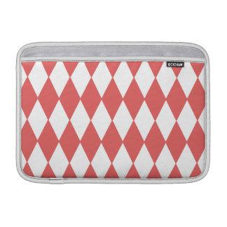 Coral White Harlequin Pattern, Black Monogram MacBook Air Sleeve