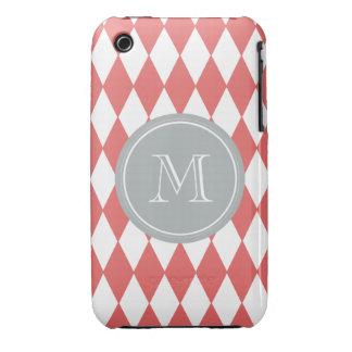 Coral White Harlequin Pattern, Gray Monogram iPhone 3 Case
