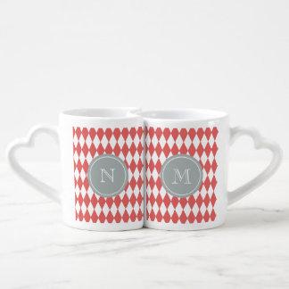 Coral White Harlequin Pattern, Gray Monogram Coffee Mug Set