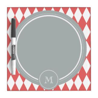 Coral White Harlequin Pattern Gray Monogram Dry-Erase Boards