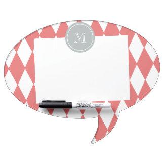 Coral White Harlequin Pattern Gray Monogram Dry Erase Board