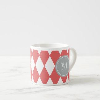 Coral White Harlequin Pattern, Gray Monogram Espresso Cup