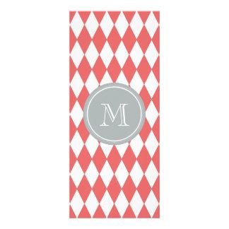 Coral White Harlequin Pattern, Gray Monogram Custom Announcement