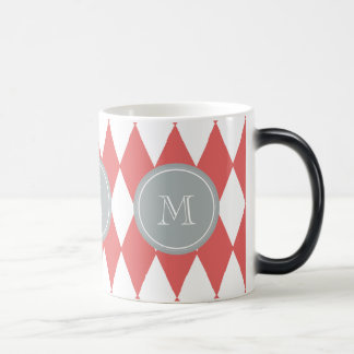Coral White Harlequin Pattern, Gray Monogram Magic Mug
