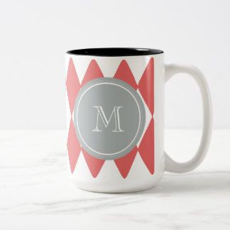 Coral White Harlequin Pattern, Gray Monogram Two-Tone Coffee Mug