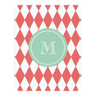 Coral White Harlequin Pattern, Mint Monogram Card