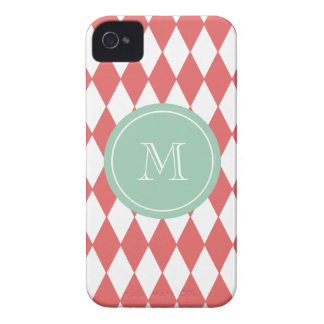 Coral White Harlequin Pattern, Mint Monogram iPhone 4 Covers