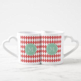 Coral White Harlequin Pattern, Mint Monogram Coffee Mug Set