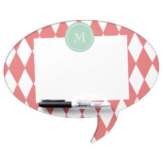 Coral White Harlequin Pattern Mint Monogram Dry-Erase Board